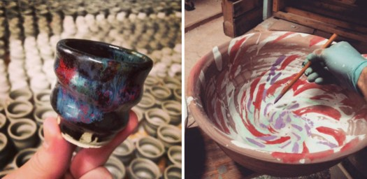 Cherrico Pottery, Cosmic Studio Shot Cup and Serving Bowl in Process