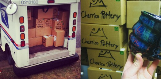 Image 2, Cherrico Pottery Packing and shipping, Cosmic Mug, USPS Post Office Pottery