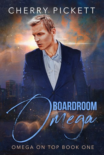 The cover for Boardroom Omega, which features a blond man in a business suit superimposed over a dramatic cityscape.
