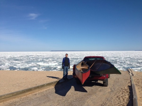 Northerly winds blew Sleeping Bear Bay full of ice bergs.