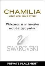 Chamilia welcomes Swarovski as an investor and strategic partner