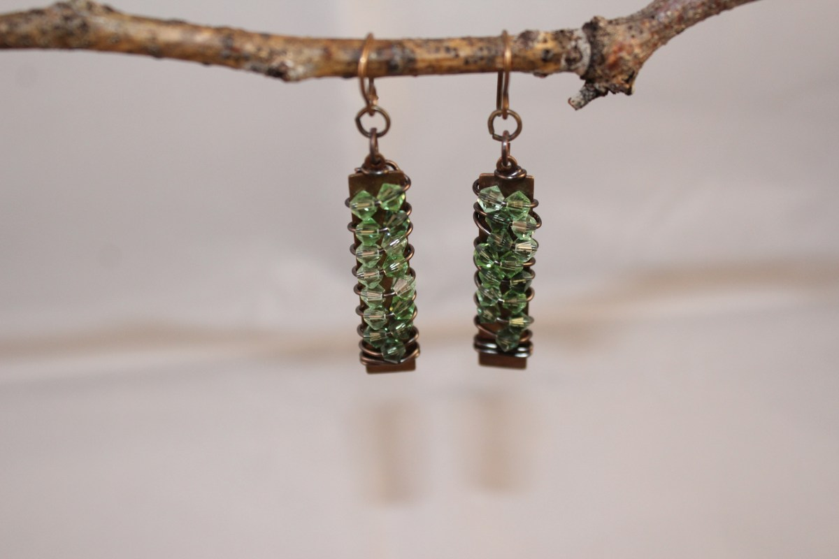 light green Swarovski Crystal rock candy Earrings