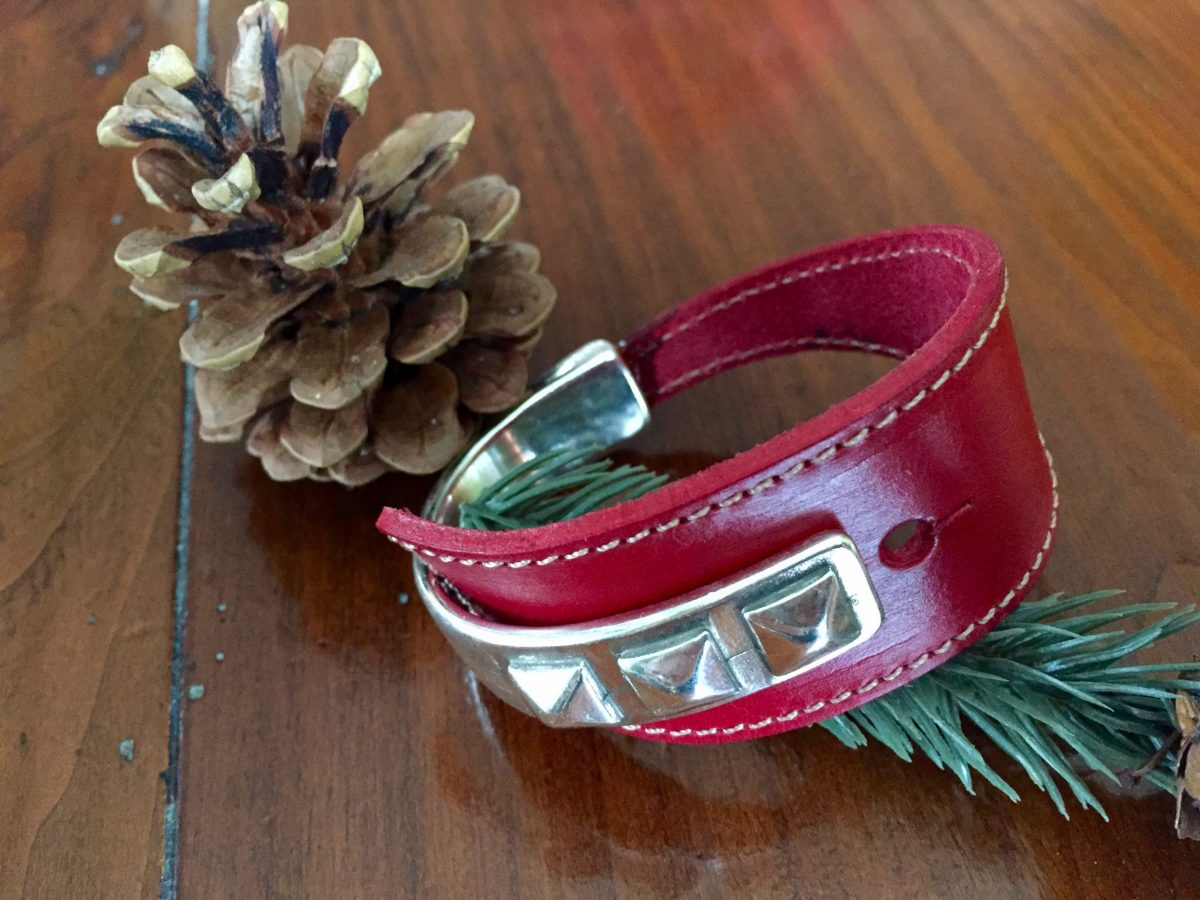 triple stud red leather half cuff silver bracelet