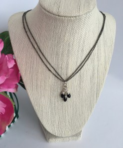 Swarovski Jet Black Faceted Crystal Cluster Mixed Metal Necklace