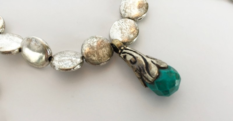 etched faceted turquoise bead pendant