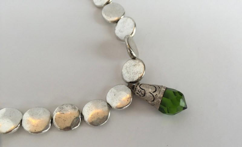 Etched Swarovski moss green pendant