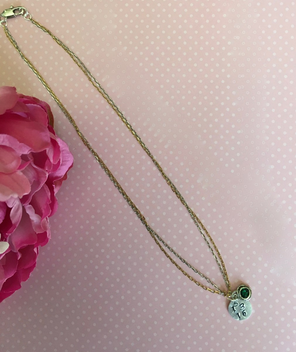 Custom Swarovski Crystal Birthstone Date Necklace