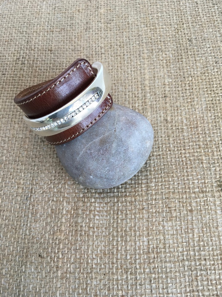 Cognac Brown Wide Leather Silver Swarovski Crystal Cuff Bracelet