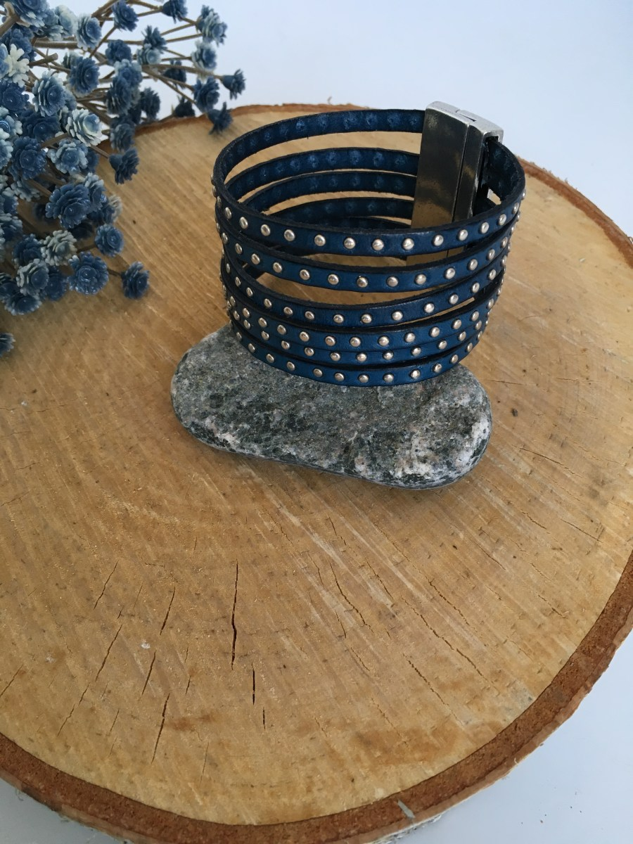 Silver Studded Wide Denim Blue Leather Bracelet
