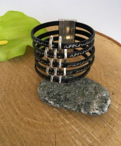Gratitude Basketweave Black Leather Cuff Bracelet