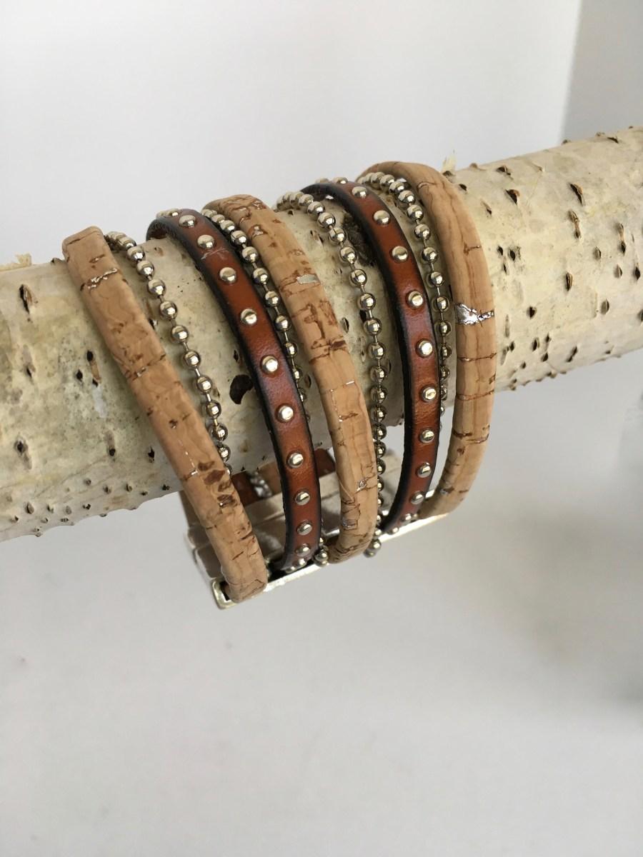 Natural Cork Silver Studded Brown Leather Wide Bracelet