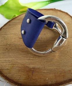 Equestrian Style Half Cuff Cornflower Blue Leather Bracelet