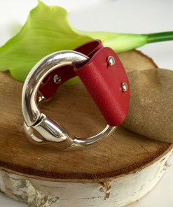 Equestrian Style Half Cuff Red Leather Adjustable Bracelet