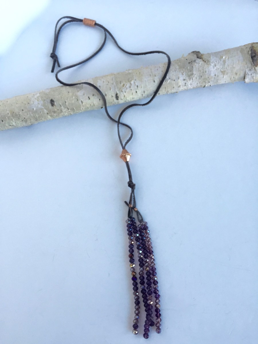 Convertible Purple Crystal Tassel Copper Slider Necklace