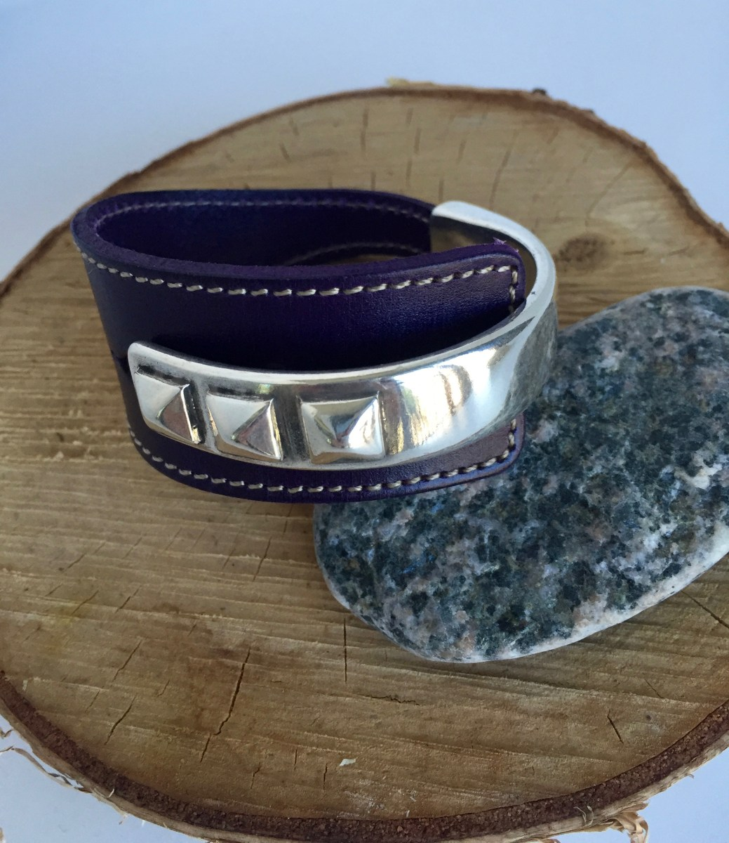 Rich Plum Wide Leather Silver Rivet Cuff Bracelet