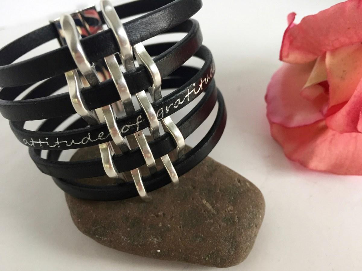 Gratitude Narrow Basketweave Black Leather Cuff Bracelet