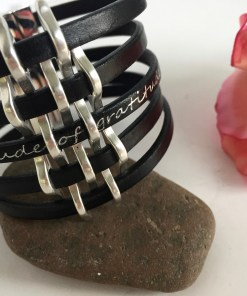 Gratitude Narrow Basketweave Black Leather Cuff Bracelet