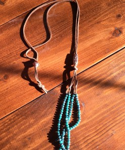 Convertible Turquoise Crystal Tassel Necklace