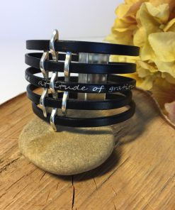 Gratitude Thin Basketweave Black Leather Cuff Bracelet
