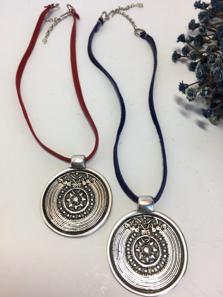 Large Round Primitive Medallion Statement Necklace