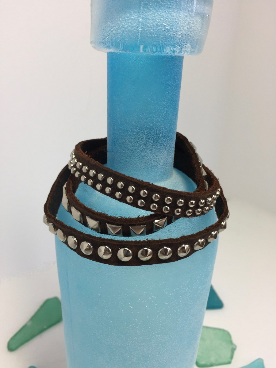 Triple Pattern Silver Riveted Brown Leather Wrap Bracelet
