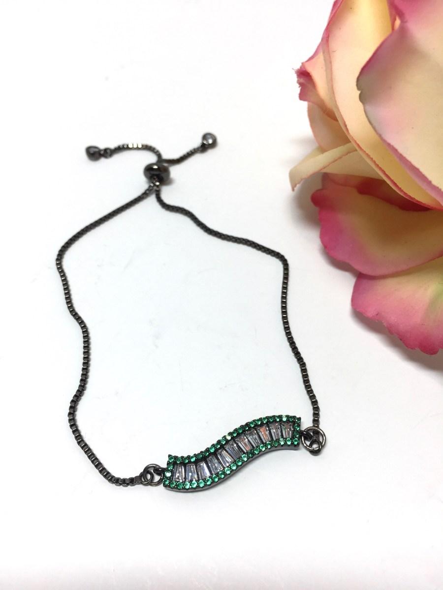 Adjustable Art Deco Green Crystal S-Bar Bracelet