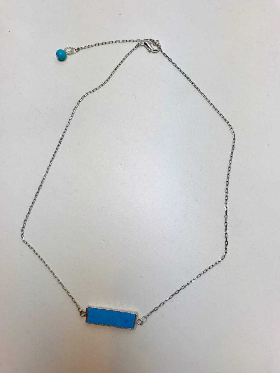 Turquoise Bar Solitaire Necklace