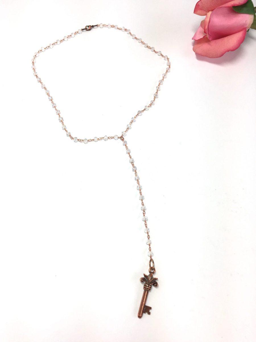 Sparkly Crystal Y Necklace