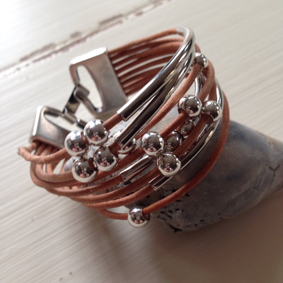 Silver Beads Plus Bars Natural Brown Leather Bracelet