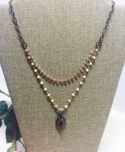 Vintage Style Garnet Marquis Multi-Strand Necklace