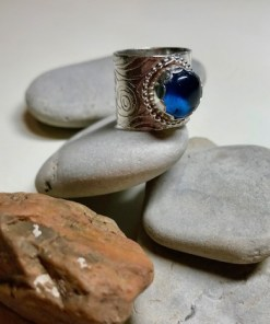 Wide Textured Tanzanite Blue Quartz Cabochon Sterling Silver Ring