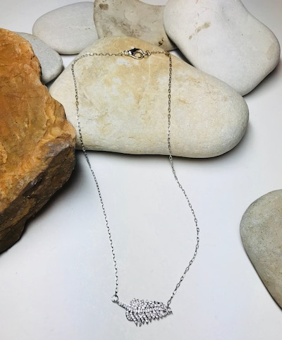Crystal Fern Delicate Silver Pendant Necklace
