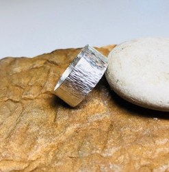 Hammered Waterfall Pattern Sterling Silver Narrow Band Ring