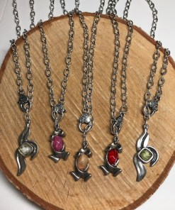 Convertible Resin Pendants on Silver Adjustable Chain