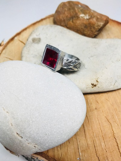 Square Ruby Corundum CZ Sterling Silver Textured Ring