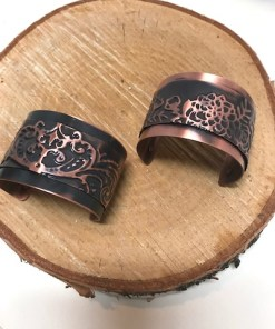 Double Layer Textured Copper Cuff Bracelet