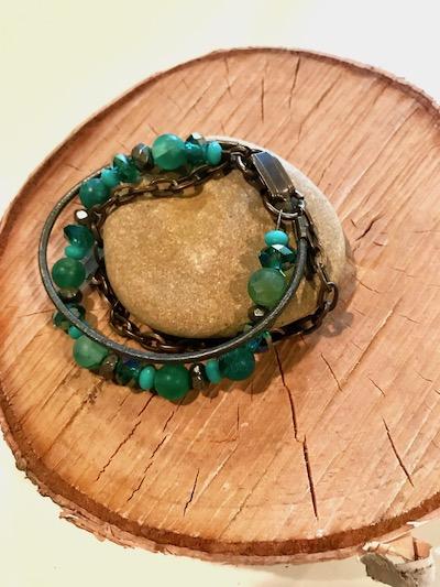 Green Envy Beaded Leather Chain Multi-Strand Bracelet