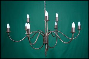 Shallow 5 Arm Spike Wrought Iron Chandelier