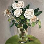 Roses, acrylic on board, 12