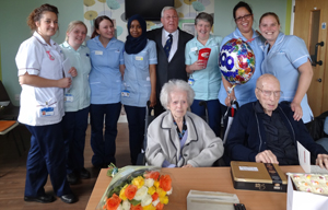 Nursing Staff with WM Graham Maxted Monaghan with Albert and Gurty