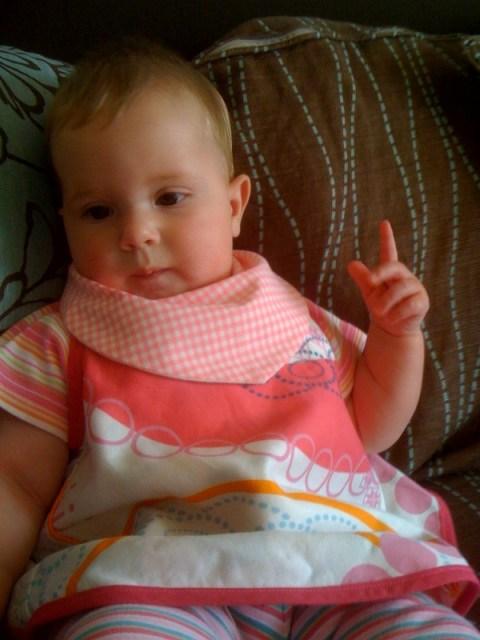 Baby G models pink gingham Dribblebuster