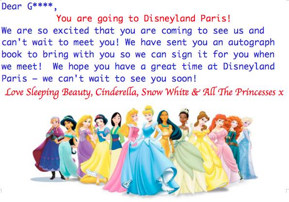 Disneyland Paris Holiday Surprise Reveal Notes To Self - Disney surprise letter template
