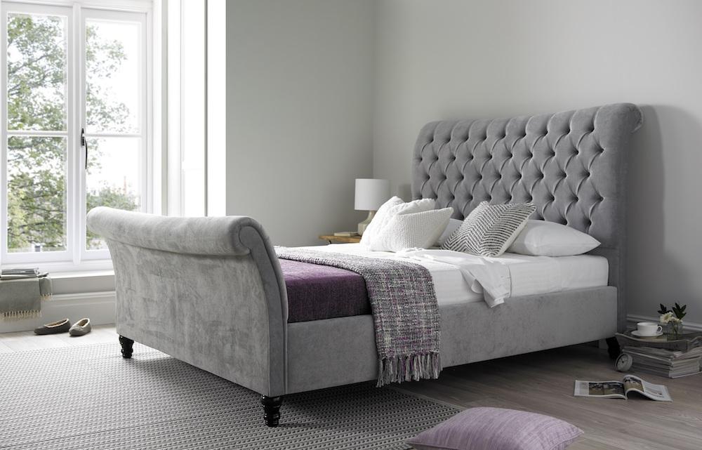 Grey upholstered bed www.time4sleep.co.uk