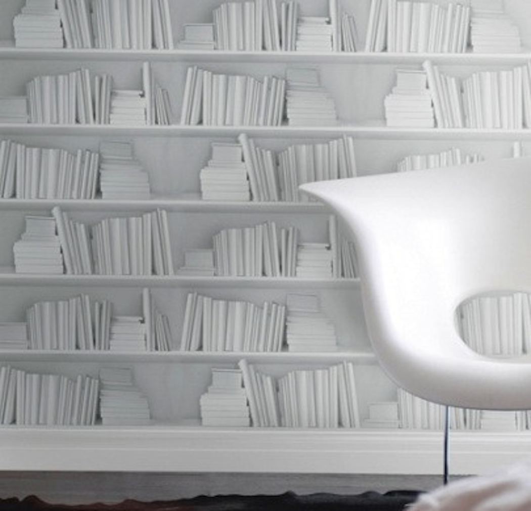 White Bookshelf Wallpaper (1)