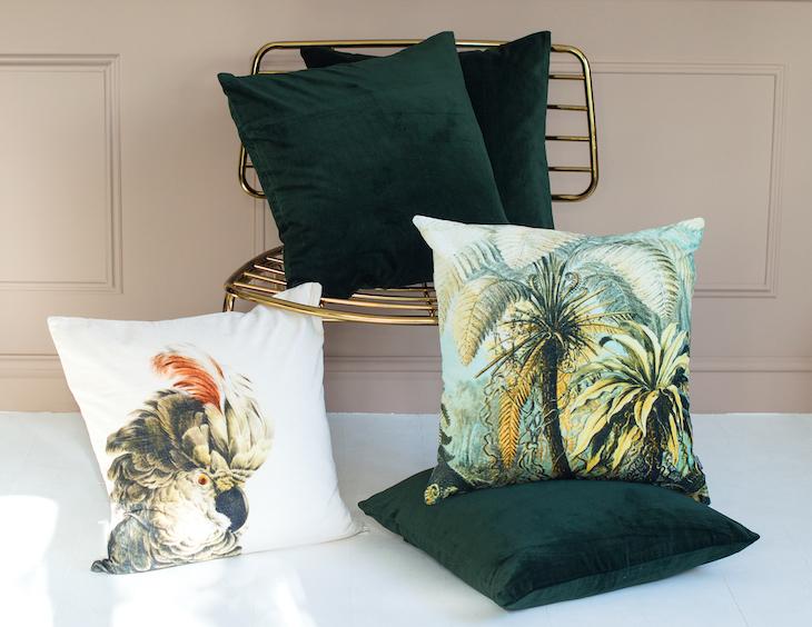 Green Velvet Cushion £35.50. Parrot Velvet Cushion £38. Topical Velvet Cushion £38