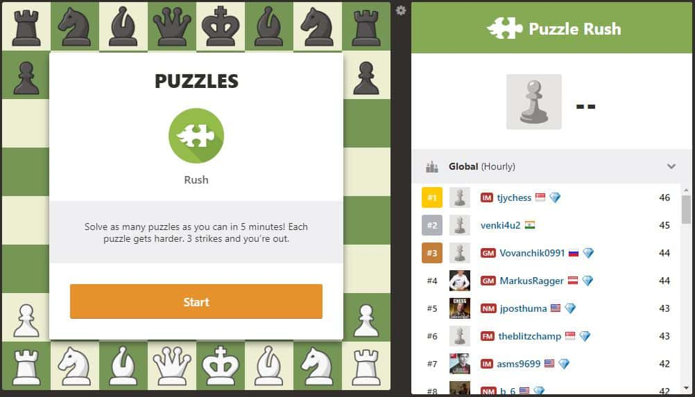 Puzzle Rush, chess.com's new feature