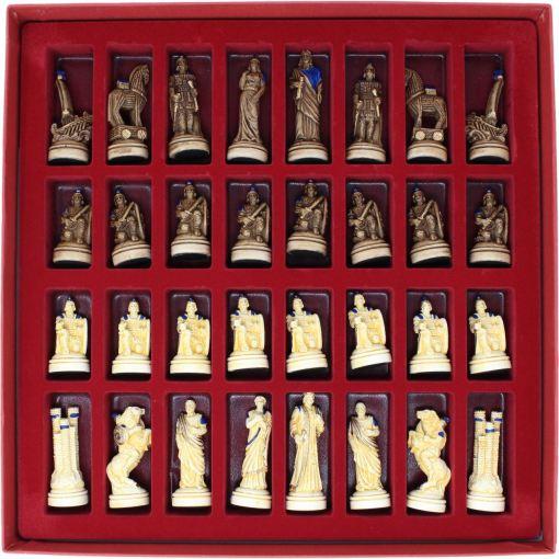 ARMA 陶器のチェスセット トロイア戦争 31cm 青 16