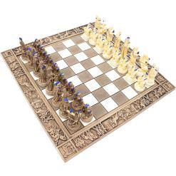 ARMA 陶器のチェスセット トロイア戦争 31cm 青 9