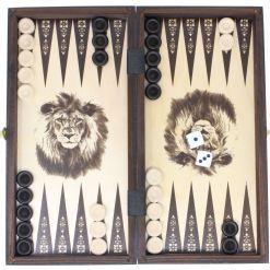 木製ゲームセット チェス/バックギャモン/チェッカー 27cm 12