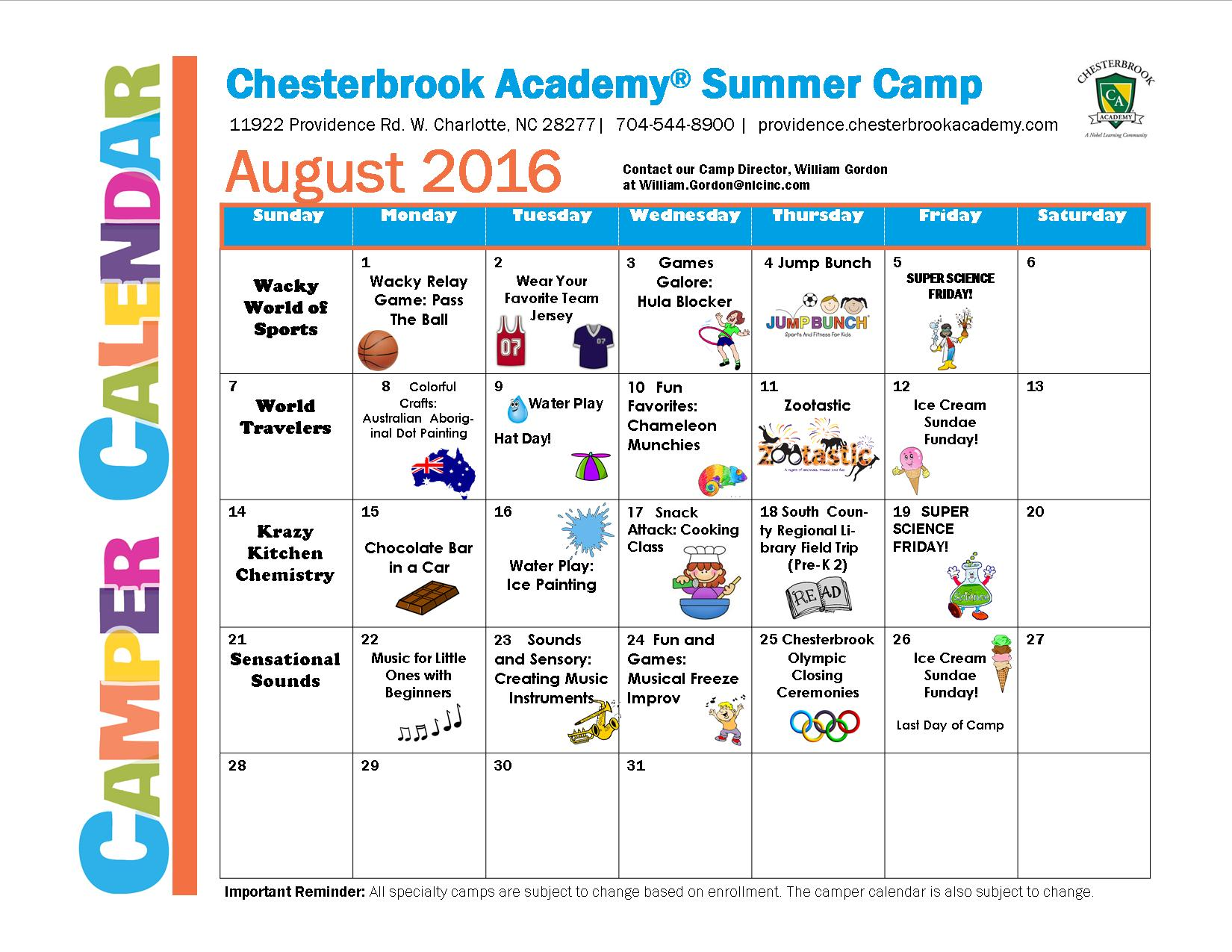 Preschool August Camper Calendar